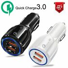 Qualcomm QC 3.0 Quick Fast Car Charger Charge Dual 2-USB Port 3A 36W Certified
