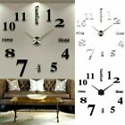 3D DIY Extra Large Numerals Luxury Mirror Wall Sticker Clock Home Decor Gift UK