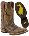 Mens Sand Western Cowboy Boots Crocodile Belly Pattern Square Toe Real Leather