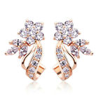 Gorgeous Stud Earrings Women 14k Rose Gold Plated White Sapphire Jewelry A Pair image
