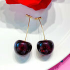 Fashion Cherries 18k Yellow Gold Plated Drop Women Earrings Crystal A Pair/set image