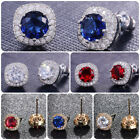 925 Silver,Gold Stud Earrings for Women Fashion Cubic Zircon Jewelry A Pair/set image