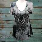 VOCAL - Skull Graphic Tie Dye Fit & Flare T Shirt