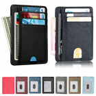 RFID Blocking Leather Slim Wallet Money Clip Credit Card Slots Coin Holder Men