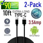 [2-pack] 10 ft USB Data Sync/Charge USB-C Type-C Cable for Samsung,LG,HTC,BLU,