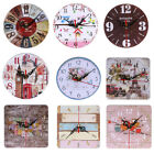 Vintage Wooden Wall Clock Large Shabby Chic Rustic Kitchen Home Room Decor