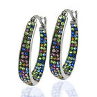 Gorgeous 925 Silver Hoop Earring Women Multi-Color Crystal Jewelry A Pair/set image