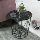 Retro Side Table Baskets Marble Wood Top Storage Basket Tables Home Furniture