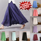 Внешний вид - Fashion Women Long Maxi Skirt Elastic High Waist Cotton Linen Casual Beach Skirt
