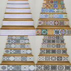 6pcs Stair Stickers Mosaic Tiles Staircase Riser Wall Decal Home Decor