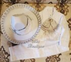 Beautiful 6 pieces Boy Charro Suit, White with Silver Charro Suit with Hat