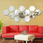 12pcs/set 3d Mirror Geometric Hexagon Acrylic Wall Sticker Decor Art Diy Home~jp
