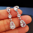 Gorgeous 925 Silver Jewelry Drop Earrings for Women White Sapphire A Pair/set image