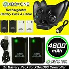 2 Pack 4800mAh Rechargeable Battery USB Charger Cable for XBox 360 Controller UK
