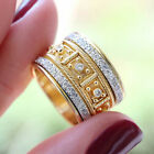 Gorgeous 18k Yellow Gold Plated Rings Women White Sapphire Jewelry Size 5-10