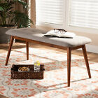 Flora II Midcentury Modern Button-Tufted Fabric Oak-Finish Wood 41* Dining Bench