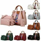 4PCS Elegant Lady Women Leather Handbag Shoulder Hobo Bag Satchel Purse Tote Set image
