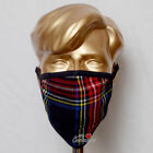 Family Pack of 5 Units Black Stewart Tartan Mask Breathable Two Layer Washable