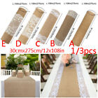 3pcs Hessian Burlap Table Runner with Lace Wedding Cloth Rustic Country Decor