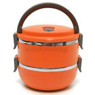2-Layers Stainless Steel Thermal Insulated Lunch Box Bento Food Container USA