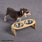 Raised Cat Bowl Feeding Watering Food Storage Stainless Steel With Stand Tilted