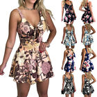 Women Sexy Jumpsuit Bow-tied Print Loose-fitting Shorts Suspenders Romper Pants