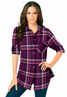 Roaman's Women's Plus Size Flannel Tunic Plaid Shirt