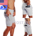 Men's 2 in 1 Workout Training Athletic Gym Running Liner Phone Pocket Shorts 7""