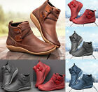 Women Ankle Boots Casual Wide Flat PU Leather Strap Boots Round Toe Riding Shoes