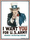 I Want You Uncle Sam Vintage Army Recruiting Military Art Poster Print 24x36