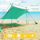 7 X 7' Family Beach Tent Canopy Sunshade With 4 Poles Camping Outdoor Multicolor