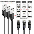 3Pack 180/360° Magnetic Cable 3A Type C IOS Micro USB Charger For iPhone Android