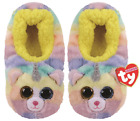 TY Beanie Babies HEATHER the UNICORN CAT Soft Plush Slippers