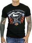 Harley-Davidson Mens V-Twin Motor Flame Skulls Black Short Sleeve Biker T-Shirt $12.99 USD on eBay