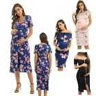 Women's Side Bow Tie Floral Pattern Maternity Midi Bodycon Causual Mama Dress
