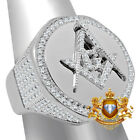 Mens Real White Gold On Sterling Silver Masonic Freemason Lab Diamond Ring Band