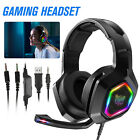 LED Gaming Headset Mic RGB Stereo Surround Headphone 3.5mm Wired For PS5 Xbox PC