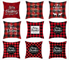 Merry Christmas red plaid throw pillow covers 18x18in, happy new year decoration