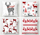 Christmas white throw pillow covers, red elk pattern sofa cushion cover 18x18in