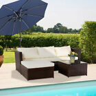 MODERN RATTAN GARDEN FURNITURE SOFA SET LOUNGER 4 SEATER OUTDOOR PATIO FURNITURE