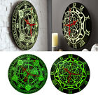 12 Glow In The Dark Round Novelty Wall Clock Hanging Magic Circle Home Office