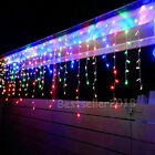 Colorful 13~130'FT 96-960 LED Icicle Curtain Light Xmas Fairy String Lights Lamp