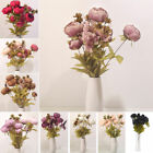 13 Heads Silk Peony Artificial Flowers Peony Wedding Bouquet Home Party Decor Uk