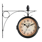 Outdoor Clock Hanging Retro Double-sided Vintage Battery Powered Metal Mount