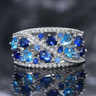 Gorgeous 925 Silver Rings For Women Aquamarine & Sapphire Jewelry Gift Size 6-10