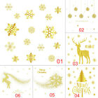 Gold Christmas Window Static Stickers Party Decor Craft Home Store Glass Decor