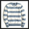 J Crew Mens L Cotton Crewneck Sweater in Garter Stitch In bluestone stripe