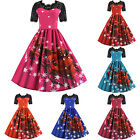 Womens Christmas 50s Rockabilly Lace Swing Skater Dress Vintage Xmas Party Dress