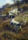 FRAMED CANVAS ART PRINT painting hunting dogs setters pointers