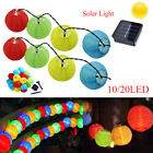 Colorful Solar String Light Lantern Style 10/20 LED Garden Fairy Lights Outside